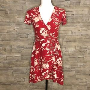 Streetwear Society burgundy floral faux-wrap dress